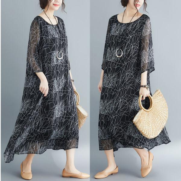 洋裝 連身裙 洋氣大碼女裝2019夏季新款印花200斤胖妹妹減齡中長款洋裝顯瘦