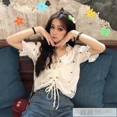 夏季韓版2020新款法國小眾木耳邊V領抽繩兩穿短款寬鬆短袖襯衫女 韓慕精品