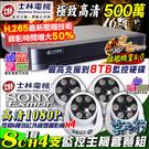 監視器 士林電機 1080P 8路4聲主機DVR +4支1080P 6陣列室內攝影機 AHD/TVI/類比/IPCAM 台灣安防