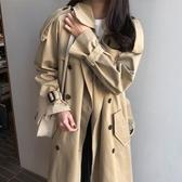 韓版中長款風衣外套女卡其色2019春秋新款ins流行寬鬆大碼過膝潮-完美