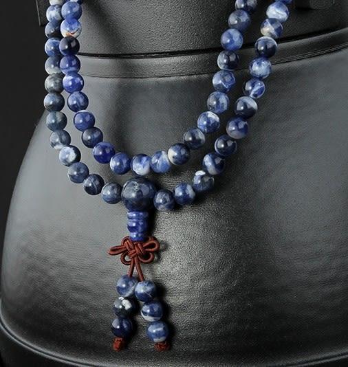 [協貿國際]天然方鈉石108顆佛珠手鍊單條價
