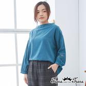【Tiara Tiara】百貨同步ss 幾何線條繡花長袖上衣(米/藍)
