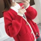 毛衣外套 韓版2020秋冬裝新款慵懶風水貂絨加厚毛衣女寬鬆針織衫開衫外套