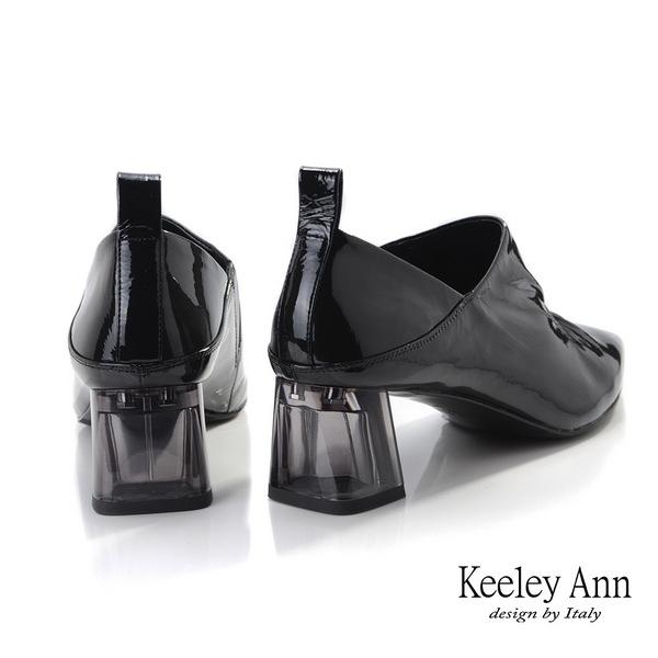 ★2019秋冬★Keeley Ann極簡魅力 抓皺V口造型透視跟包鞋(黑色) -Ann系列