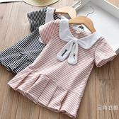 洋裝童裝洋裝2019女童夏季裝新款時尚娃娃領休閑學院風短袖百褶洋裝