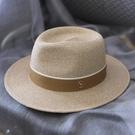 櫪野春夏新款男士禮帽巴拿馬草帽遮陽防曬沙灘帽子女夏天爵士帽潮
