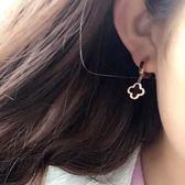 日韓版 鍍18K玫瑰金鈦鋼四葉草耳釘氣質耳扣女 簡約黑色耳環耳墜  無糖工作室