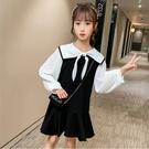 *╮S13小衣衫╭*中大童海軍風方領壓縐泡泡長袖連身裙洋裝1091009