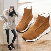 女靴冬季新款時尚平底棉鞋加絨保暖防滑休閒厚底雪地靴女短筒 完美居家生活館