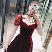 絲絨連衣裙女春高腰荷葉邊A字中長禮服裙【聚寶屋】