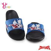 鹹蛋超人 奧特曼 中童 防水拖鞋 正版授權 I5568#藍色◆OSOME奧森鞋業