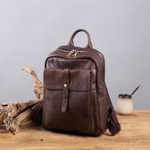 牛皮多功能拉鍊後背包 雙肩包可放A4 筆電 旅行【Solomon 皮件設計】