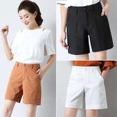 白色短褲女夏高腰寬鬆四分褲顯瘦中褲休閒褲子闊腿五分褲