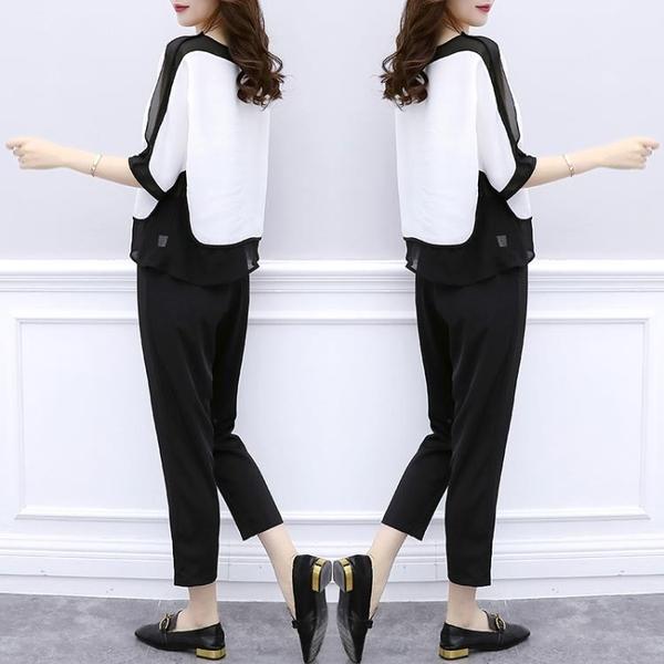 兩件式褲裝 大碼女裝顯瘦套裝洋氣心機雪紡衫褲子兩件套-Ballet朵朵