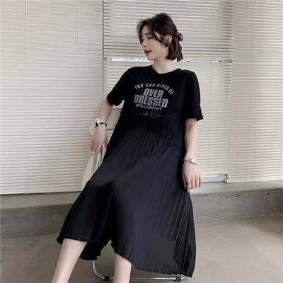 大碼洋裝休閒裙子 蕾絲拼接印花連身裙氣質百褶裙中長款裙子FF12韓衣裳