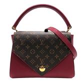 【台中米蘭站】全新展示品 Louis Vuitton Double V 翻蓋式拚色手提肩背二用包 (M51766-紫紅)