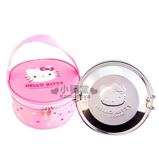 〔小禮堂〕Hello Kitty 不鏽鋼雙層便當盒《銀.KT臉》附專屬收納袋  4710891-16814