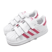 adidas 休閒鞋 Superstar CF I 白 粉紅 小童鞋 童鞋 魔鬼氈 基本款 【PUMP306】 CG6638