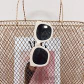 方形大框墨鏡白色韓版防曬防紫外線眼鏡 全館免運