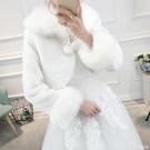 披肩外套 新娘婚紗毛披肩女秋冬禮服旗袍保暖結婚白色小外套仿皮草外搭披風 俏girl