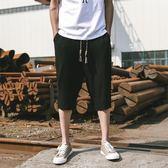 夏季短褲男士亞麻薄款透氣哈倫褲正韓七分褲寬鬆大碼休閒棉麻中褲