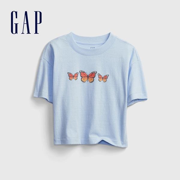 Gap女童 童趣印花圓領短袖T恤 673543-淺藍色