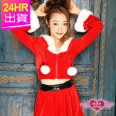 聖誕裝 角色扮演 紅 長袖俏皮連帽短外套裙裝 耶誕服 表演服 聖誕節 角色服 天使甜心Angel Honey