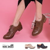 [Here Shoes]休閒皮鞋-英倫學院風 皮革壓紋質感靴 輕量化粗跟好走 MIT台灣製百搭經典款─KW827