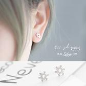 Marble.925純銀幾何花朵穿針式耳環【sa045】*911 SHOP*