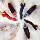 低跟鞋秋季高跟鞋尖頭3cm低跟淺口單鞋女...