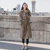 風衣外套 韓版 港風復古格子中長款雙排扣chic保暖長大衣 花漾小姐【預購】