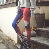 運動緊身褲-時尚熱銷塗鴉瑜珈慢跑舞蹈女壓力褲73es27[時尚巴黎]
