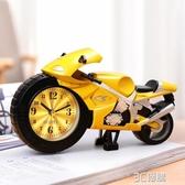 摩托車小鬧鐘學生用男孩專用兒童時鐘卡通創意可愛迷你鬧鈴床頭鐘 雙十一免運
