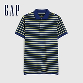 Gap男裝 條紋朱蒂網眼布POLO衫 833270-黃藍條紋