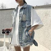 2018春季新款女水洗做舊后背破洞須邊單排扣短款無袖牛仔背心外套 桃園百貨