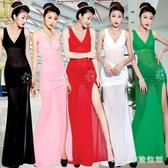 夜店洋裝連身裙女夜場女裝性感顯瘦2020修身長款包臀長裙低胸透視紗裙 LR22765『3C環球數位館』