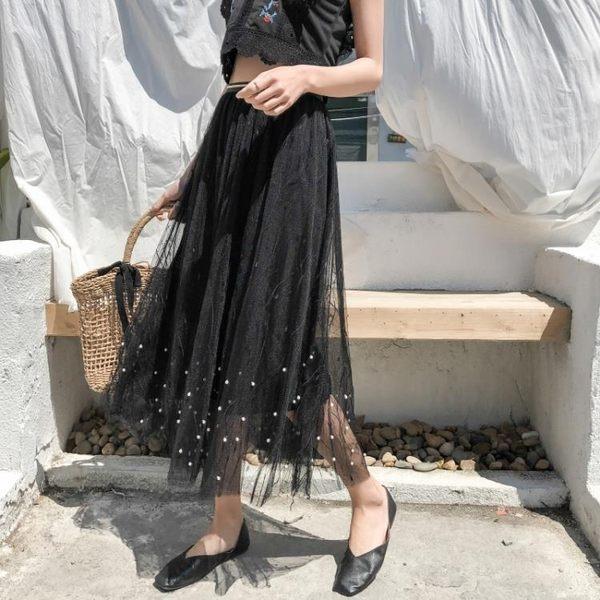 夏季新款韓版復古網紗釘珠勾花鏤空鬆緊腰百搭蕾絲洋裝中長款女 KB2036【Pink中大尺碼】