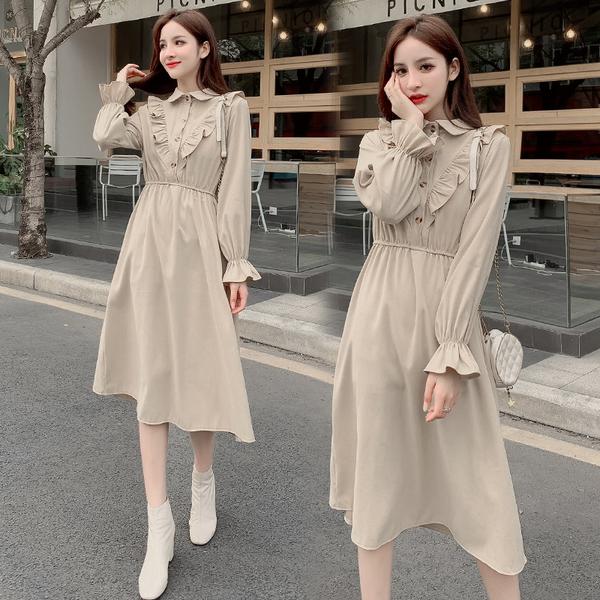 清倉388 韓國風小清晰復古收腰顯瘦喇叭袖長袖洋裝