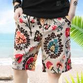 海灘褲 男士花短褲夏季沙灘褲五分褲