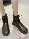 英倫風女鞋 2021年新款顯腳小馬丁靴女冬加絨歐洲站英倫風學生顯瘦潮短靴女鞋 小天使