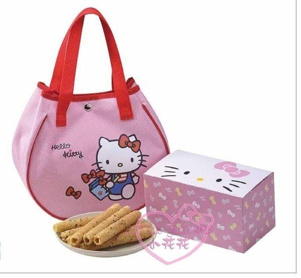 小花花日本精品♥ Hello Kitty 芝麻蛋捲禮盒 造型手提袋 年節送禮自用兩相宜 悠遊風 15001207