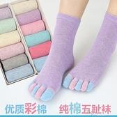 五指襪女 全棉中筒彩指襪子 分腳趾休閒襪子 禮盒裝  【全館免運】