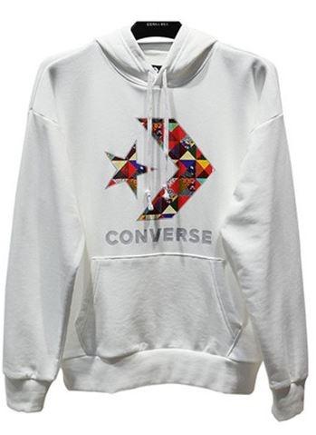 Converse 休閒運動長袖上衣 連帽 時尚彩色星箭 男款 白色 NO.10017833-A02