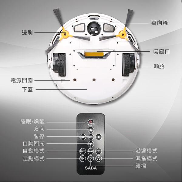 SABA路徑導航掃地機器人 SA-HV13DS【福利品】