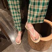 交叉綁帶細帶平底涼鞋女2021年夏季新款百搭簡約仙女風夾趾羅馬鞋 果果輕時尚