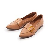 【Fair Lady】古銅釦帶尖頭樂福平底鞋 蜜糖棕