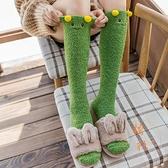 2雙裝 長筒襪子女可愛冬季加厚保暖睡眠襪長小腿襪【橘社小鎮】