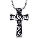 《QBOX 》FASHION 飾品【CPN-849S】精緻個性克拉達愛心十字架鑄造鈦鋼墬子項鍊/掛飾