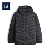 Gap男童保暖拉鏈絎縫連帽羽絨衣480041-正黑色