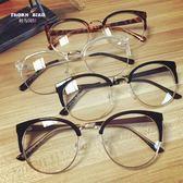 眼鏡框 平光鏡潮流鏡框男女 韓國 復古時尚圓型眼鏡框架 poly girl